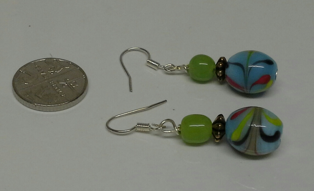 Multi Coloured  blown Glass silver plated Earings