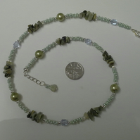 Genuine Rare Green Tigers eye necklace silver plated