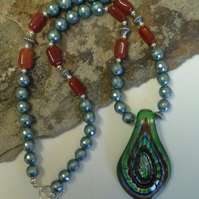Murano Glass, Agate & Pearl Necklace