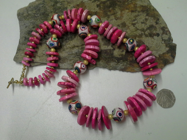 Statement Magnesite &  Hand Made Polymer Clay bead  necklace