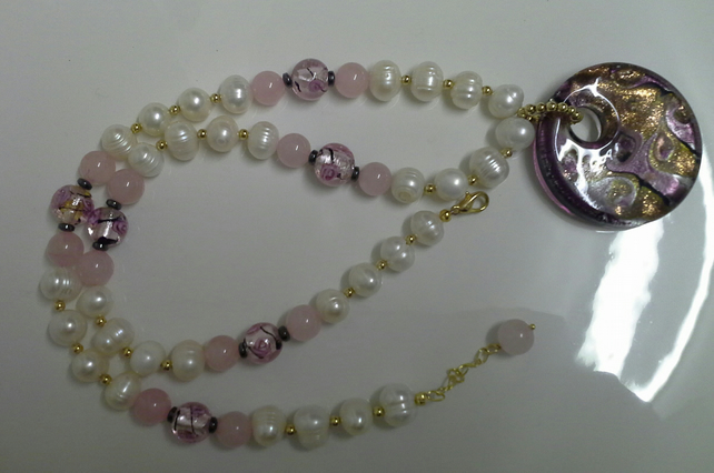 Murano Glass & Genuine  Cultured Pearl Statement Necklace