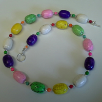 Chunky genuine Magnesite  Silver Plated Necklace