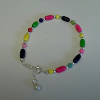 Genuine  Magnesite gemstone Silver Plated Bracelet