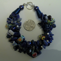 Sodalite, Shell Pearls, Hand Made Polymer Clay Silver Plated Bracelet