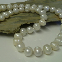 Large Genuine Fresh Water Ringed Cultured Pearl Necklace 925 Sterling Silver