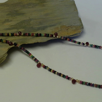 GENUINE SOLID 9k Gold. Sapphires, Emerald,  Ruby Necklace  ONE OFF