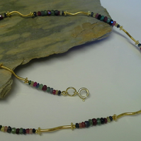 Genuine  Ruby, Emerald & Sapphire  Gold Vermeil Necklace