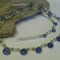 AA Grade Tanzanite,  Peridot  & Moonstone  Sterling Silver Necklace