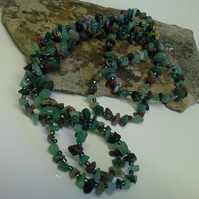 "Green Aventurine & Mixed Fancy Jasper  Nugget  60"" inch length Necklace"