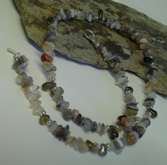 Botswana Agate  & Smokey Quartz Necklace