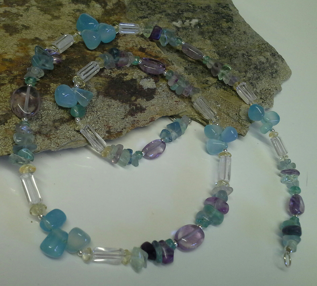 ONE OFF Genuine Blue Chelcodony, Fluorite & Quartz  925 Sterling Silver