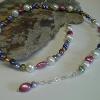 Genuine Freshwater Multicoloured Pearl Necklace 925 Sterling Silver