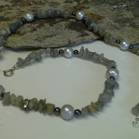 Labradorite , Genuine Pearls and Heamotite sterling silver necklace
