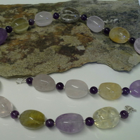 Genuine Chunky Amethyst & Multi Gemstone Sterling Silver Necklace