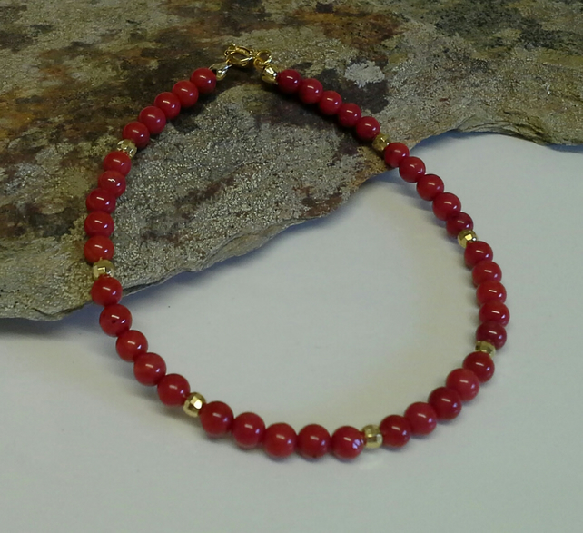 Genuine Red Coral Gold Vermeil (gold over 925 Silver)  Bracelet