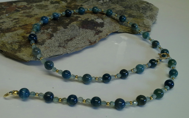 Rare Genuine  Apatite Gold Vermeil Necklace
