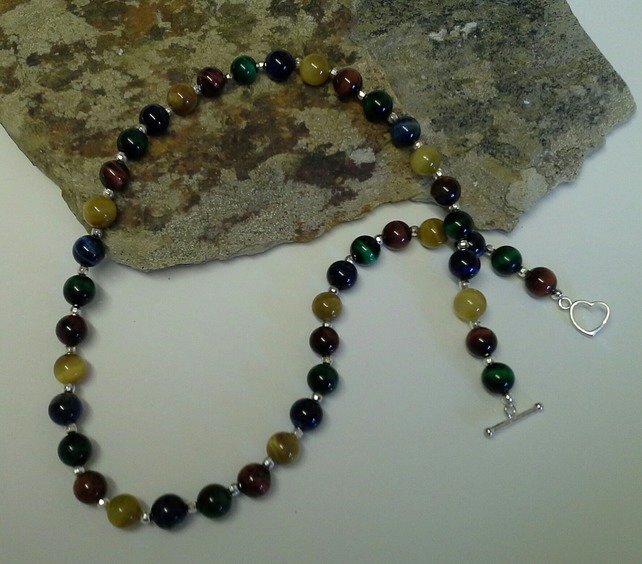 Genuine Multi Coloured  Tigers Eye Necklace 925 Sterling Silver