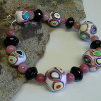 925 Sterling Silver Genuine Black Onyx, Jasper & Hand  Made Beads  Bracelet