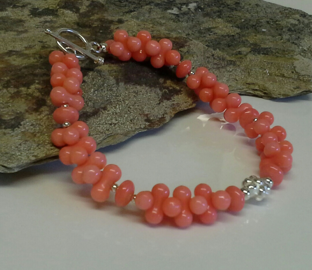 925 sterling silver Peach Coral Bracelet