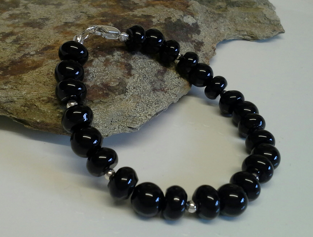 Genuine Black Onyx Bracelet 925 Sterling Silver