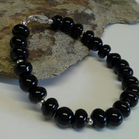 Genuine Black Onyx Pebble Bracelet 925 Sterling Silver
