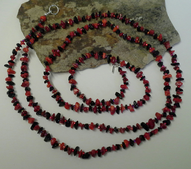 "Genuine Red Coral & Black Obsidian Necklace 58"" inches long!"