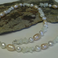 Genuine Cultured Pearls & Mother of Pearl Sterling Silver Necklace