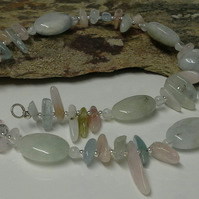 Quality Aquamarine, Morganite & Multi Beryl Sterling Silver Necklace