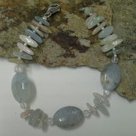 Genuine Aquamarine &  Multi Beryl Sterling Silver Bracelet