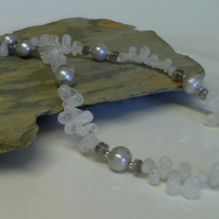 925 Sterling Silver Moonstone, Freshwater Pearls & Labradorite Necklace