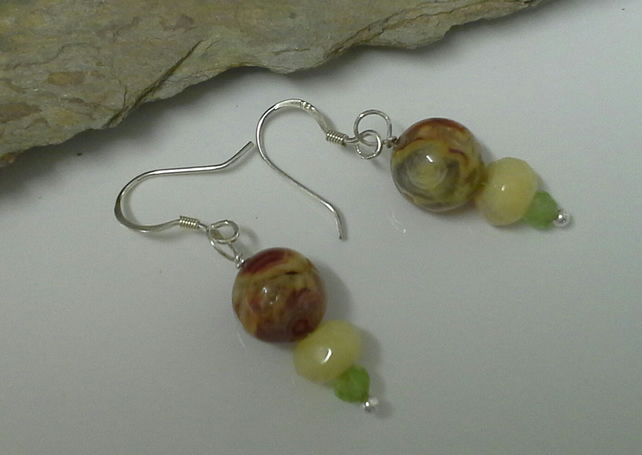 Genuine Agate, Quartzite & Peridot 925 Sterling Silver Earings