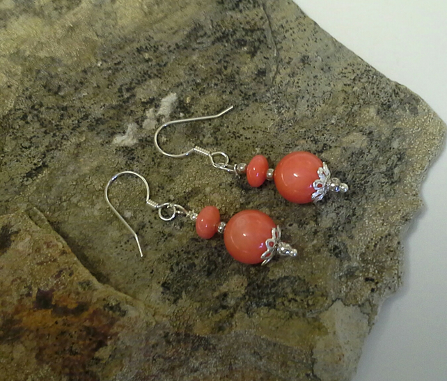 Genuine Coral 925 Sterling Silver Earings