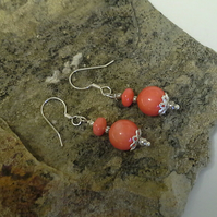 Coral 925 Sterling Silver Earings