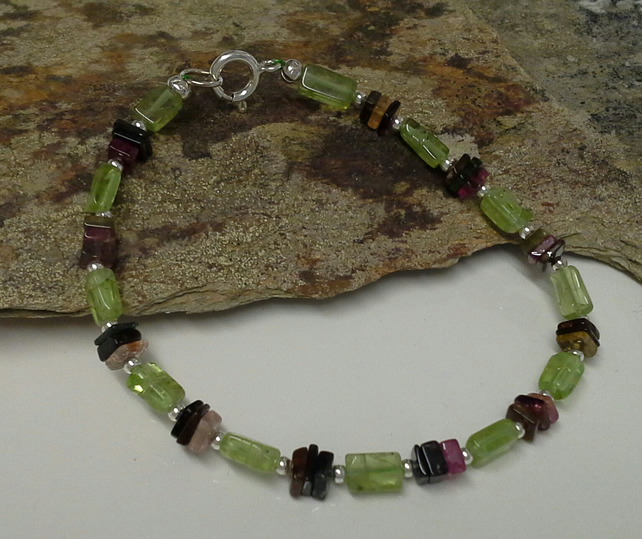 Peridot & Multi Colour Tourmalines Bracelet Sterling Silver