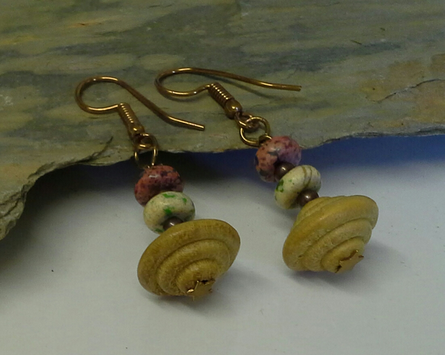 Gemstone &  Hand Carved Wood Tribal  Earings