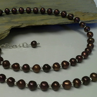 Brown  Genuine Freshwater Cultured Pearl Sterling Silver Necklace