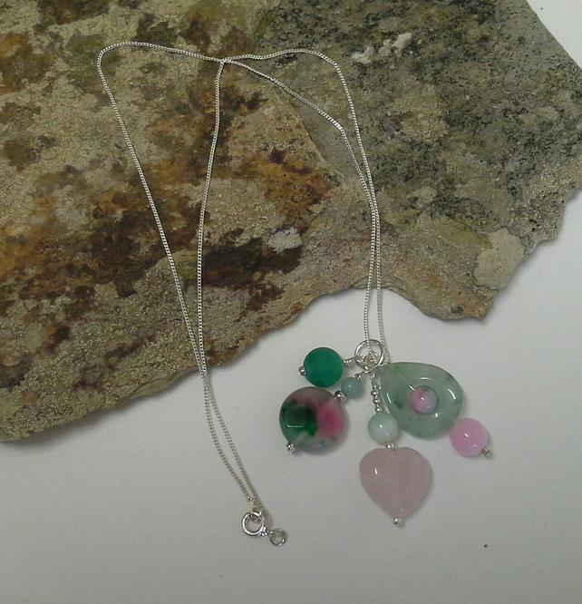 Chakra Style Genuine Watermelon Quartz, Rose Quartz, Aventurine 925 SS Necklace