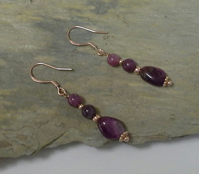 Rose Gold Vermeil Genuine Ruby Earings 925 silver