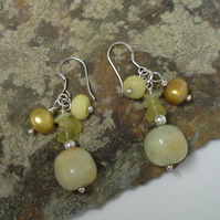 925 silver  Yellow Opal, Pearls,  Yellow Jade & Agate