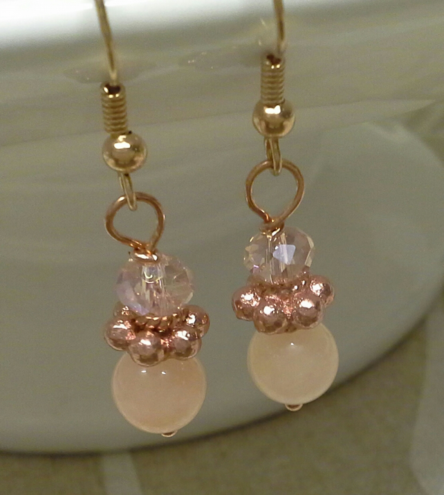Genuine Rose Quartz Faceted glass Rose Gold Plated Earrings