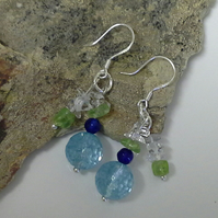 Blue Faceted  Treated Quartz,  Faceted Agate Peridot &  White Quartz 925 silver