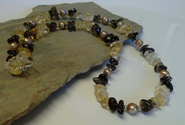 Genuine Citrine,  Smokey Quartz & Freshwater Pearl 925 Sterling  Silver Necklace