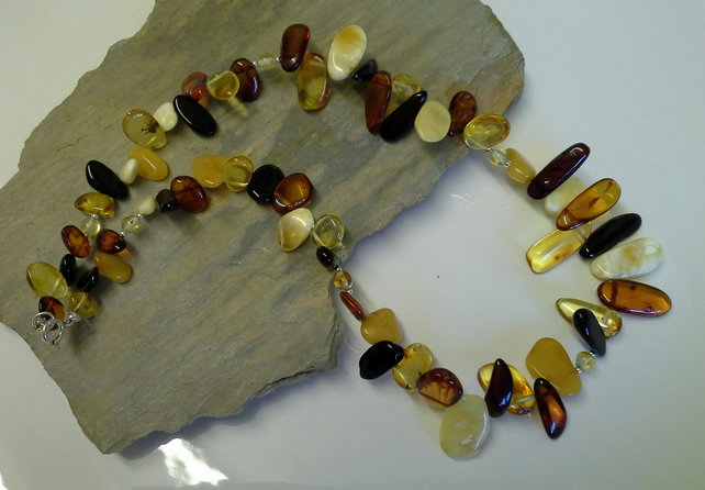 SALE WAS 225 NOW 175.00 Genuine Baltic Amber 925 Sterling Silver Necklace