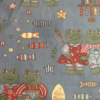 2 mitres  Cotton Fabric Toads go fishing