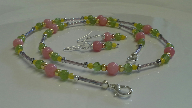 Genuine Peridot,  Quartz & Quartzite Necklace & Earings set