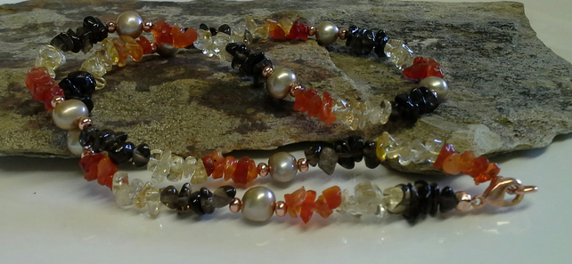Genuine Fire Opal, Smokey Quartz , Pearl & Citrine Necklace