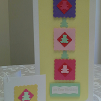 Baby Girl Birthday Card & Gift Tag