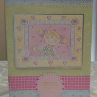 Girls Greeting Card Large A5 size