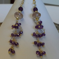 Gold Vermeil Genuine Amethyst and Genuine Rare Amatrine earings