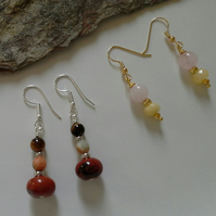 2 PAIR  Pack Genuine Mixed  Gemstone silver & gold plated Earings